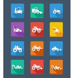 Collection tractor and silhouettes icons vector