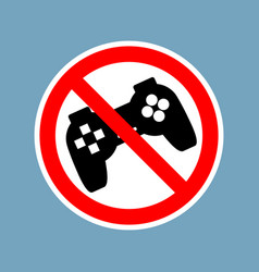 Stop video games ban gamepad red sign prohibited vector
