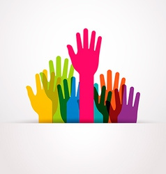 Colored raised hands presentation vector