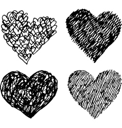 Black sketched hearts set vector
