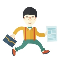 Businessman with bag and paper vector