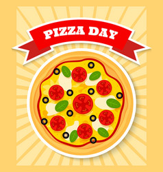 Margherita pizza day vector