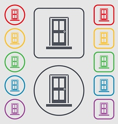 Door icon sign symbols on the round and square vector
