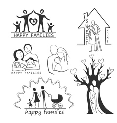 Family icons set editable for your design vector
