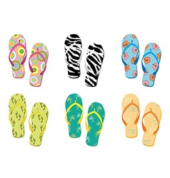 Colorful flip flops collection vector