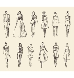 Sketch of fashion girls drawn vector