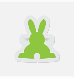 Simple green icon - back easter bunny vector