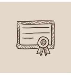 Certificate sketch icon vector