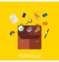 Portfolio with coin watch and document data vector