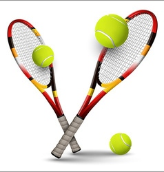 Tennis symbols rackets and balls isolated on white vector