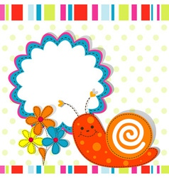 Snail greeting card template vector