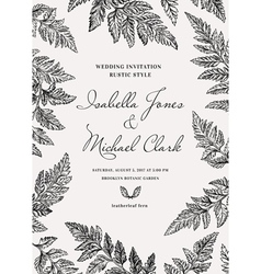 Vintage wedding invitation in a rustic style vector