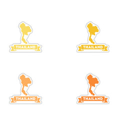 Set of paper stickers on white background thailand vector