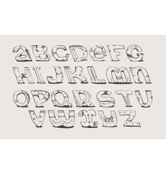 English hand drawn funky font from a to z vector