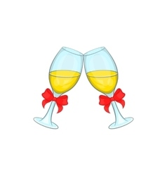 Wedding glasses icon cartoon style vector