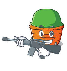 Army fruit basket character cartoon vector