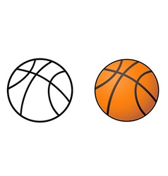 basketball ball outline vector image vector image