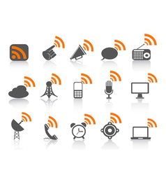 black communication icon with orange rss symbol vector image vector image