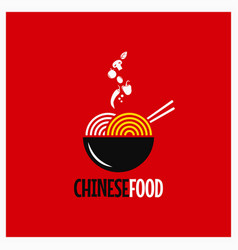 Chinese food logo chinese noodles or pasta on red vector