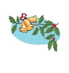 Christmas bell on berry branch vector