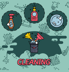 Cleaning flat concept icons vector