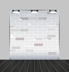 Empty room with brick wall and black wooden floor vector