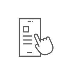 Finger touching smartphone line icon vector image