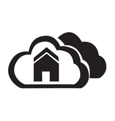flat black cloud home button icon vector image vector image