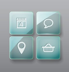 Glass buttons interface template vector image vector image