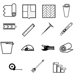 Icons for working with linoleum vector