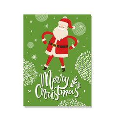 merry christmas postcards with santa claus winter vector image vector image