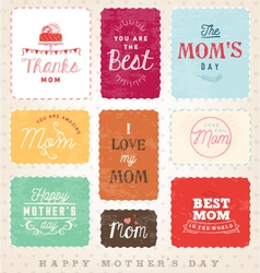 Mom design elements and greeting card set vector