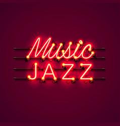 Neon music jazz signboard vector
