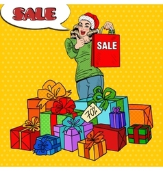 Pop Art Woman with Shopping Bag Christmas Sale vector image