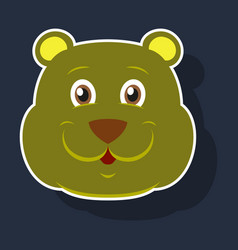 Realistic paper sticker on theme funny animal bear vector