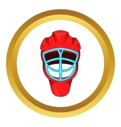 Red hockey helmet with cage icon vector