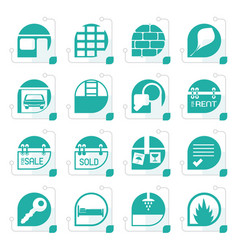 Stylized simple real estate icons vector