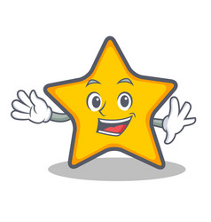 Waving star character cartoon style vector