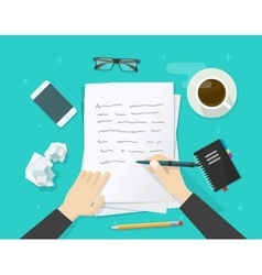 Writer writing on paper sheet workplace author vector image vector image