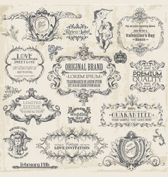 Calligraphic design elements vintage set vector