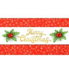 Merry christmas gold xmas lettering with holly vector