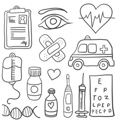 Doodle of object medical various vector