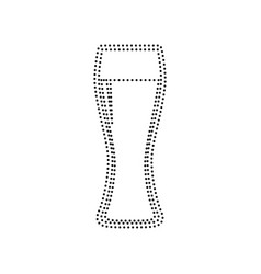 Beer glass sign  black dotted icon on vector