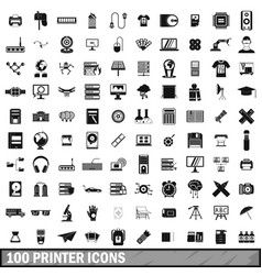 100 printer icons set simple style vector