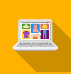 Online shopping icon in flat style isolated on vector