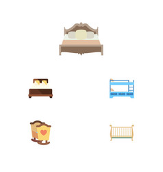 Flat set of bunk bed cot crib and other vector
