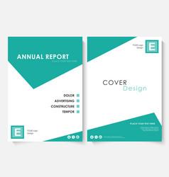 Green square annual report cover design template vector