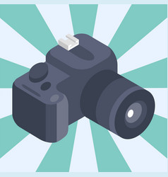 Photo camera isometric reflection movie vector
