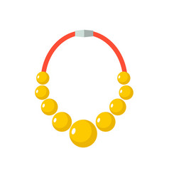Gold beads isolated golden necklace gorget on vector