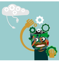 Man with gears on head innovation concept vector